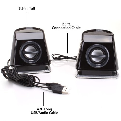GOgroove 2MX Computer Gaming Speakers with Blue LED Lights , Passive Subwoofer and Volume Control - Great with PC Monitor , 3.5mm USB Connection , AC Powered for Desktop and Laptop Computers [Blue]