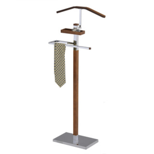 Tobacco Brown Wood and Metal Valet Stand