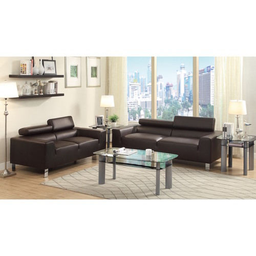 Lucas 2-Piece Bonded Leather Modern Sofa Set