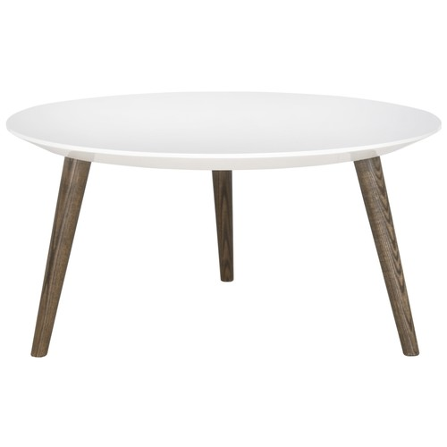 Josiah Lacquer Accent Table in White & Dark Brown design by Safavieh
