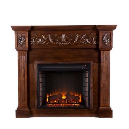 SEI Calvert Carved Wood/Veneer Electric Floor Standing Fireplace