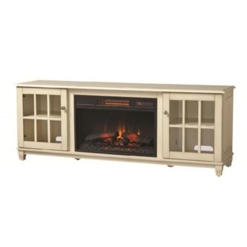 Home Decorators Collection Westcliff 66 in. Lowboy Media Console Electric Fireplace in Bleached Linen