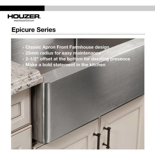 HOUZER Epicure Series Undermount Stainless Steel 33 in. Single Bowl Kitchen Sink Satin Brushed