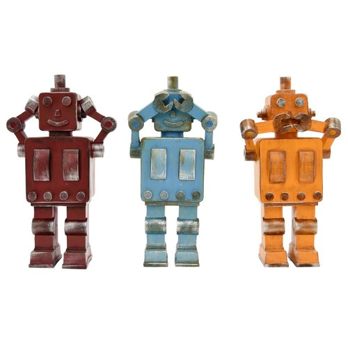 THREE HANDS 4.25 in. x 2.5 in. Multi-Colored Resin Robots in Multi-Colored (Set of 3)