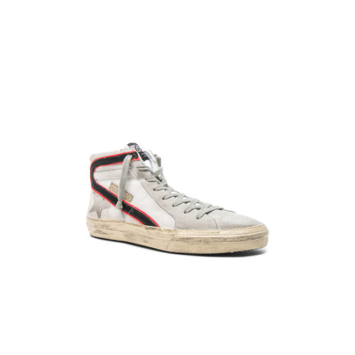 Golden Goose Mesh Slide Sneakers in White Net & Silver Tape