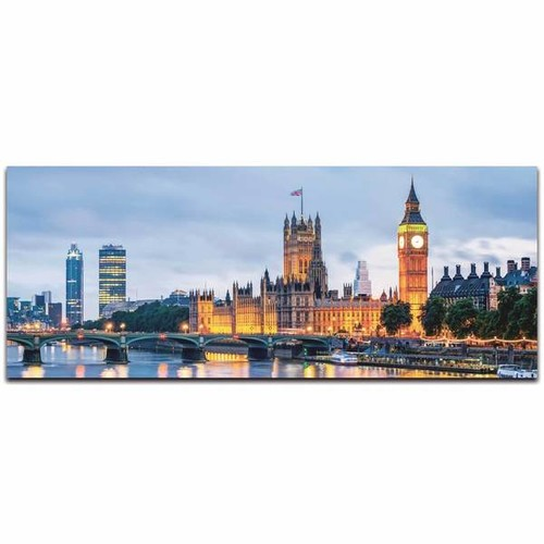 Modern Crowd 'London Classic City Skyline' Urban Cityscape Enhanced Photo Print on Metal or Acrylic [option : Metal Gicle (Matte Finish)]