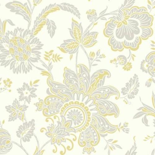York Wallcoverings Pattern Play 33' x 20.5'' Arabella Wallpaper; White / Yellow / Light Taupe