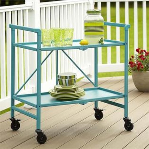 Cosco SMARTFOLD Folding Serving Bar Cart in Teal