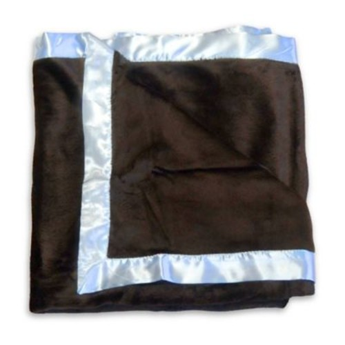 Go Mama Go Designs Luxurious Minky Blanket in Blue/Chocolate