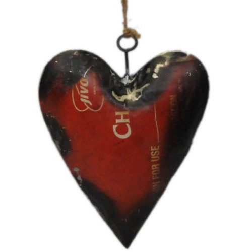 Foreign Affairs Home Decor Recycled Oil Drum Heart Ornament