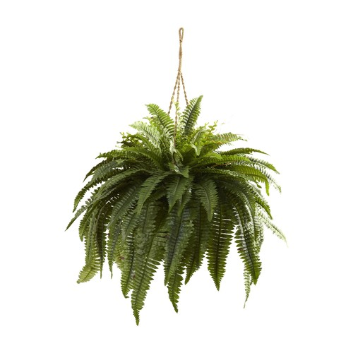 Double Giant Boston Fern Hanging Basket by Nearly Natural