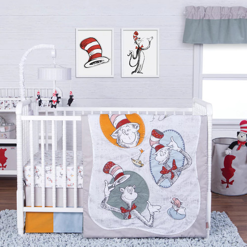 Trend Lab Dr. Seuss 3-pc. Classic Cat In the Hat Crib Bedding Set