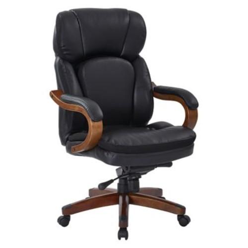 Inspired by Bassett Van Buren Black Bonded Leather Knee Tilt Executive Chair (BP-VANEX-EC3)