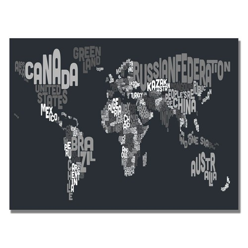 Trademark Global Michael Tompsett 'Font World Map VII' Canvas Art [Overall Dimensions : 30x47]