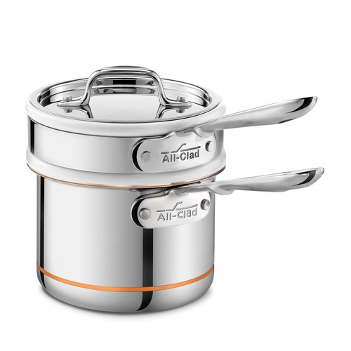 Copper Core 2 Quart Saucepan with Double Boiler & Lid