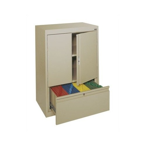 Sandusky Lee HFDF301842-04 System Series Counter Height Storage Cabinet with File Drawer, Tropic Sand