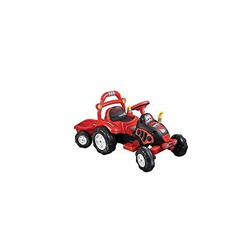 Ride On Toy Tractor and Trailer, Battery Powered Ride On Toy by Lil' Rider  Ride On Toys for Boys and Girls, For 3  7 Year Olds (Red and Yellow)