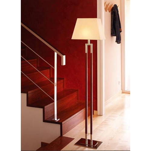Ema Pie Floor Lamp [Finish\/Style : Satin Nickel; Light : Incandescent; Lamp Shade : Linen]