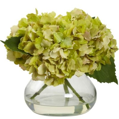 Nearly Natural 1356-GR Blooming Hydrangea with Vase, Green