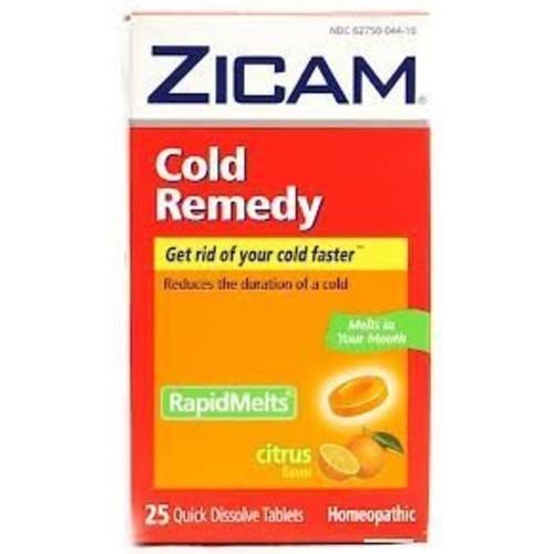 Zicam Cold Remedy RapidMelts Citrus Flavor Quick Dissolve Tablets, 25 Count, Homeopathic Pre-Cold Medicine for Shortening Colds [Citrus, 25 Count]