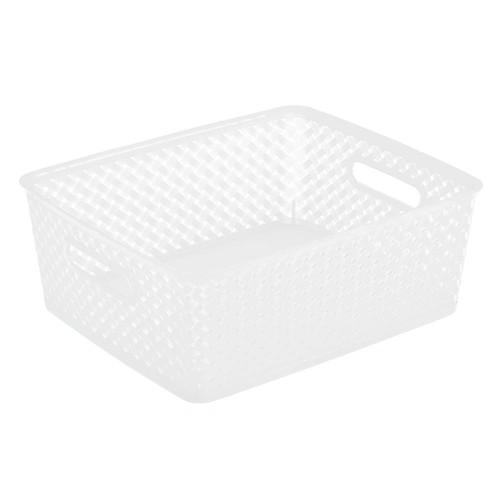 Simplify 14 in. x 11.5 in. x 5.15 in. Medium Resin Wicker Storage Bin in White