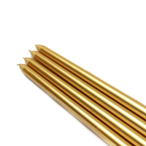 Zest Candle 12 in. Metallic Gold Taper Candles (12-Set)