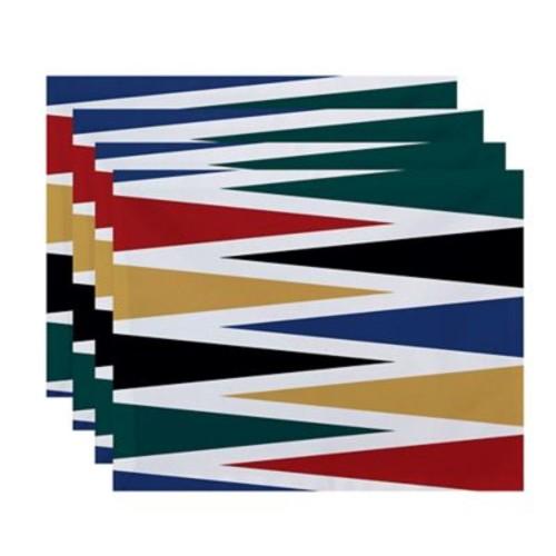 Highland Dunes Boubacar Backgammon Geometric Placemat (Set of 4); Navy Blue
