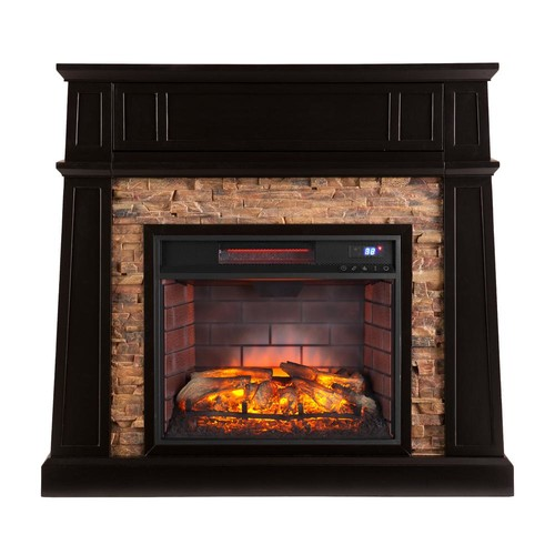 Southern Enterprises Buffalo 44.25 in. W Faux Stone Infrared Media Fireplace in Black