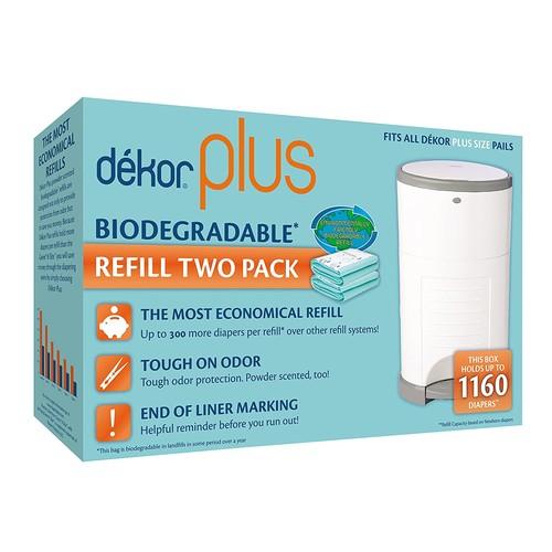 Diaper Dekor Plus Diaper Pail Liner Refills Biodegradable, 2 Count [2 Count]