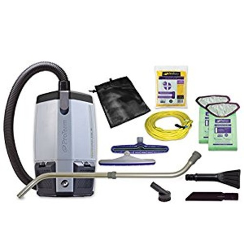 ProTeam Vacuum Backpack, ProVac FS 6 Commercial Backpack Vacuum Cleaner with HEPA Media Filtration and Small Business Kit, 6 Quart, Corded [6 Quart Backpack, 8pc Small Business Kit]