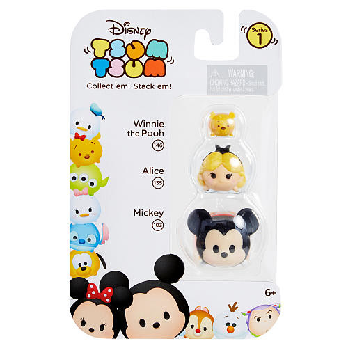 Disney Tsum Tsum 3 Pack Series 1 Figures - Mickey Mouse, Alice and Pooh