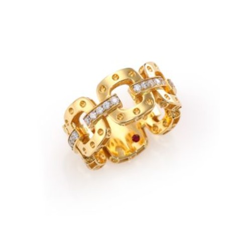 Pois Moi Diamond & 18K Yellow Gold Chain Band Ring