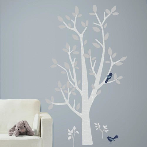 RoomMates 5 in. x 19 in. Patina Vie Woodland Tree 74-Piece Peel and Stick Giant Wall Decals
