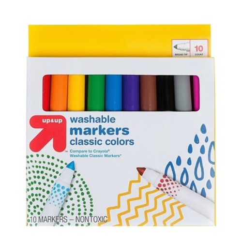 Markers Broad Tip Washable Classic Colors 10ct (Compare to Crayola Washable Classic Markers) - up & up