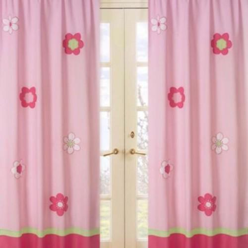 Sweet Jojo Designs Flower Window Panel Pair in Pink/Green