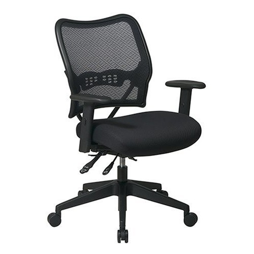 SPACE Seating Deluxe AirGrid Back with Mesh Seat, 2-Way Adjustable Arms, Seat Slider and Nylon Base Managers Chair, Black [2-Way Adjustable Arms]