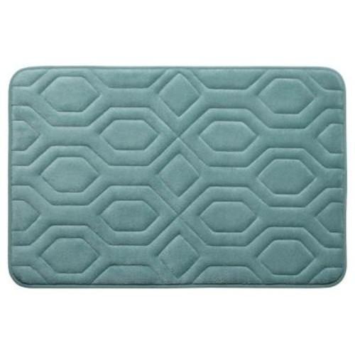 BounceComfort Turtle Shell Marine Blue 20 in. x 32 in. Memory Foam Bath Mat