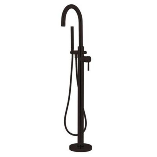 Aqua Eden 1-Handle High-Arc Floor-Mount Tub Filler with Hand Shower in Oil Rubbed Bronze