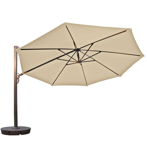 Island Umbrella Victoria 13 ft. Octagonal Cantilever Patio Umbrella in Beige Sunbrella Acrylic