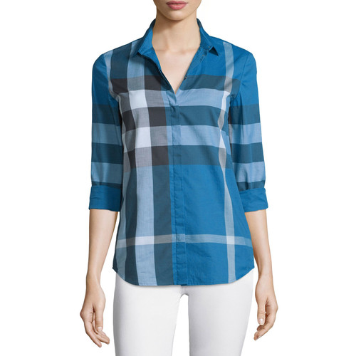 BURBERRY BRIT Long-Sleeve Check Button-Front Shirt, Lupin Blue