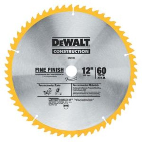 DEWALT Series 20 12 in. 60T Fine Finish Saw Blade