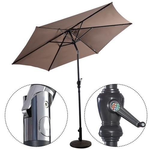 Costway 9ft Patio Umbrella Patio Market Steel Tilt w/ Crank Outdoor Yard Garden