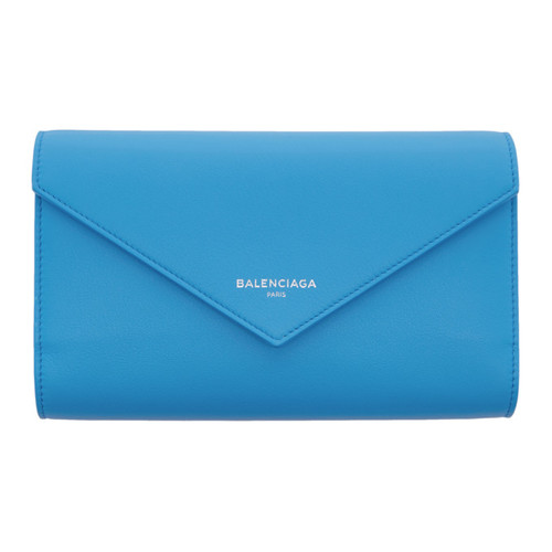 BALENCIAGA Blue Papier Money Zip Around Wallet