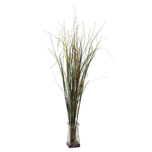 Nearly Natural Grass & Bamboo With Glass Vase Silk Plant