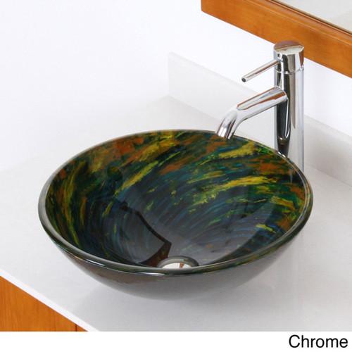 Elite Multicolor Swirl Tempered Glass Bathroom Vessel Sink and Faucet Set