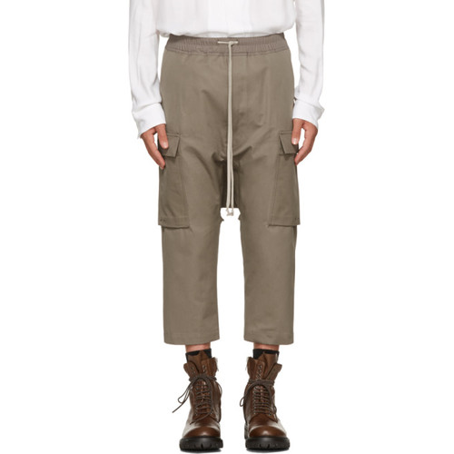 RICK OWENS Grey Drawstring Cropped Cargo Pants