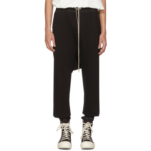 RICK OWENS DRKSHDW Black Fleece Cropped Drawstring Lounge Pants