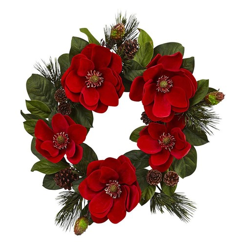 Nearly Natural 24 in. Unlit Red Magnolia and Pine Wreath