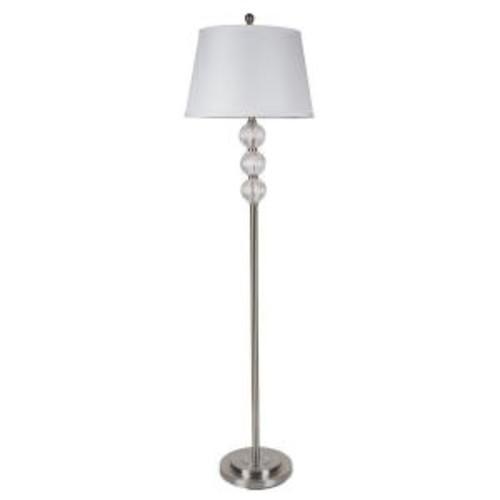 ORE International 62.5 in. Satin Nickel Glass Floor Lamp