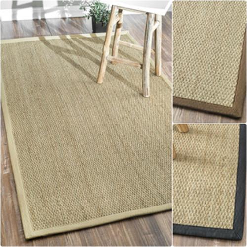 nuLOOM Handmade Natural Fiber Cotton Border Seagrass Rug (5' x 8')